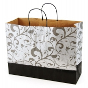 Large Black & Silver Kraft Shopping Bags