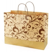 Large Brown & Gold Kraft Shopping Bags