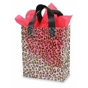 Medium Leopard Print Transparent Plastic Shopping Bags
