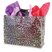 Large Leopard Print Transparent Plastic Shopping Bags (Box of 100)