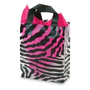 Medium Zebra Print Transparent Plastic Shopping Bags (Box of 100)