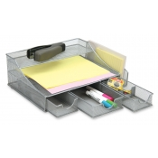 Multi-Tier Wire Mesh Desk Organizer with Drawers