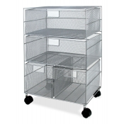 Mobile Wire Mesh Storage Drawer Cart (4 Drawers)