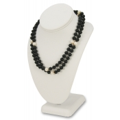 "Standard Necklace Display (White Faux Leather - 10""H)"