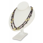 Adjustable Bust Necklace Display (White Faux Leather)