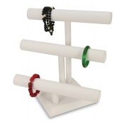 3-Tier T-Bar Display (White Faux Leather)