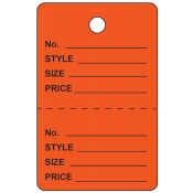 Large Orange Unstrung Perforated Tags