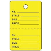 Large Yellow Unstrung Perforated Tags