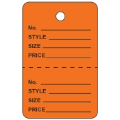 Small Orange Unstrung Perforated Tags