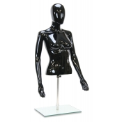 Half Body Female Black Plastic Torso Mannequin