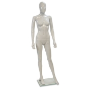"White Egg Head Plastic Female Mannequin (Style ""A"")"