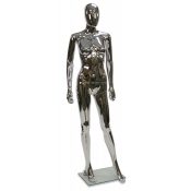 "Chrome Egg Head Plastic Female Mannequin (Style ""C"")"