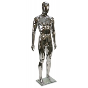 "Chrome Plastic Egg Head Male Mannequin (Style ""C"")"