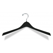 "17"" Contoured Black Plastic Outerwear Hangers (100-pack)"