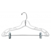 "17"" Clear Plastic Suit Hangers (100-pack)"