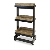 3-Tier Rectangular Wicker Basket Floor Display