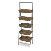 5-Tier Wicker Basket Floor Stand