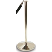 Black Crowd Control Stanchion with Retractable Belt