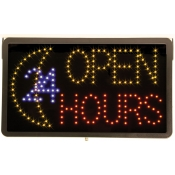 Open 24 Hours Sign with LED Lights