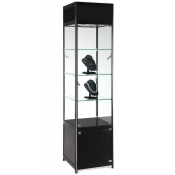 Our Square Showcase Tower with Halogen Lighting in Black finish