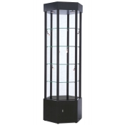 Hexagonal Halogen Lighted Showcase Tower (Black)