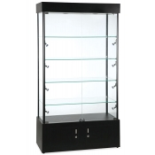 Rectangular Showcase Tower in black finish with Halogen Lighting