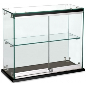 Glass Sliding Door Countertop Showcase in black finish