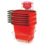 Set of Red Rolling Shopping Baskets