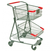 Two-Tier Metal Shopping Cart (73-Liter)