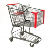 Standard Metal Shopping Cart with Bottom Tray (130-Liter)