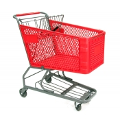 Large Plastic Shopping Cart with Bottom Tray (180-Liter)