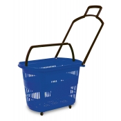 Blue Easy-Pull Rolling Shopping Basket