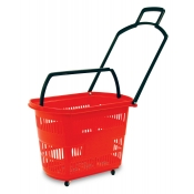 Red Easy-Pull Rolling Shopping Basket
