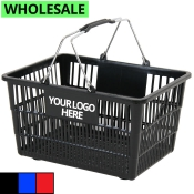 Wholesale Shopping Baskets with Chrome Handles (Standard-Size)