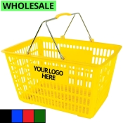 Wholesale Plastic Shopping Baskets with Chrome Handles (Jumbo-Size)